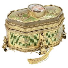 Antique French gilded bronze Casket box