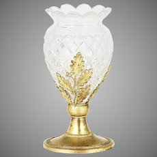 Antique French Baccarat clear crystal miniature Vase in gild bronze mounts