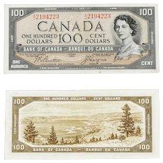 1954 Devil's Face - Canadian $100 Banknote signature Beattie/Coyne A/J 2194223