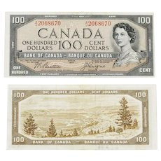 1954 Devil's Face - Canadian $100 Banknote signature Beattie/Coyne A/J 2068670