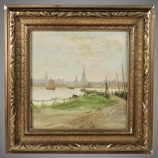 19th century view of Amsterdam oil on board painting signed verso J.U.K