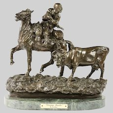 Ukrainian Rustler Antique Bronze sculpture after Russian Vasilii Grachev