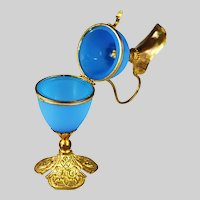 French blue opaline glass egg hinged Box in form of Ewer bronze mounts