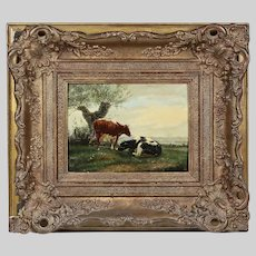 Netherlad 19th century oil on board painting signed verso J.U.K