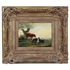 Netherlad 19th century oil on board painting signed verso J.U.K