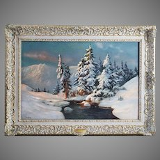 Early 20th century o/c painting Winter landscape signed E.Barkoff