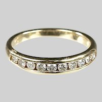 14K gold half eternity Ring size 6, 0.70 carat of round cut diamonds