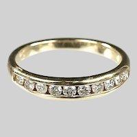 14K gold half eternity Ring size 6, 0.70 carat of round cut diamonds