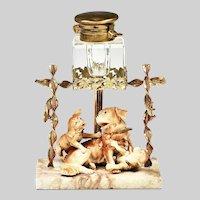 19th century French Inkwell glass reservoir porcelain dog figurines ormolu mounts