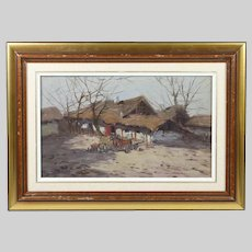 Vintage oil on board painting by Nemeth Gyorgy Hungarian