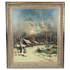 American George W. Drew 1875-1968 Moonlight oil canvas painting