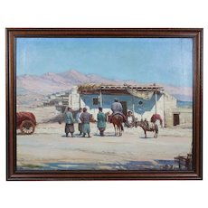 Russian Sergey V. Ivanov 1864-1910 Antique o/c painting Kirgizi Turkestan
