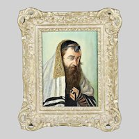 Austrian sign Cohn o/c painting Rabbi Portrait Jewish Judaica