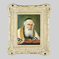 Vintage Austrian signed Cohn o/b painting Rabbi Portrait Jewish Judaica