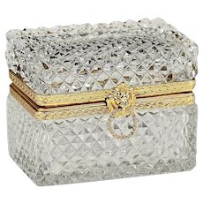 Antique French clear crystal glass trinket box or casket