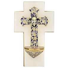 Antique French bronze cross Champleve Cloisonné enamel Holy Waterfont