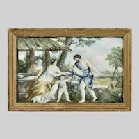 Antique watercolour painting Greek Mythology Zeus & Europe