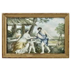 Antique watercolour painting Greek Mythology Zeus & Europe