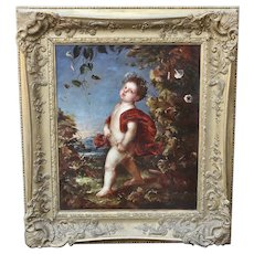 Antique European 19th century oil canvas painting old master school
