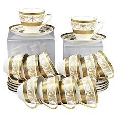 Set 12 tea coffee Cups Saucers Vintage Bohemian Premium porcelain De Luxe