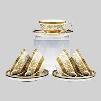5 tea Cups and 5 Saucers Vintage Bohemian Premium porcelain De Luxe