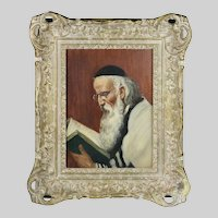 Austrian sgn Cohn o/board painting Rabbi Portrait Jewish Judaica