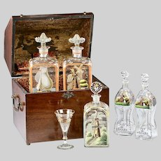 Antique Tantalus Mariner's Liquor Chest with 5 hand painted Decanters