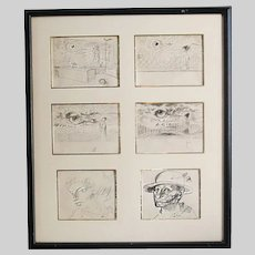 Hungarian Endre Szasz (1926-2003) Six pen drawing on paper