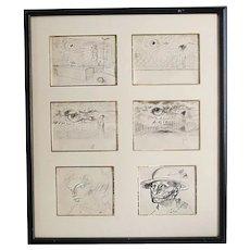 Hungarian Endre Szasz (1926-2003) Six pen drawing on paper