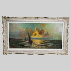 French O. Prevost oil on canvas Seascape Painting signed