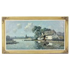 Dutch A.Reynders oil canvas board painting Village view signed