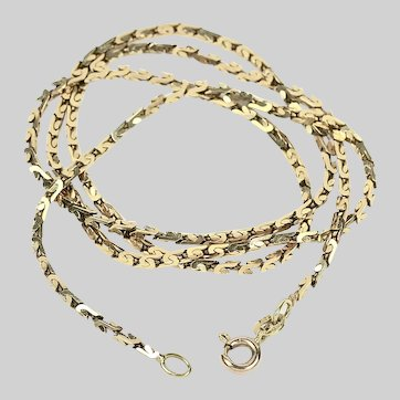 Vintage solid 14K gold square link Chain necklace 19.5 inch made in Italy