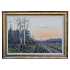 Polish Victor Korecki (1890-1980) oil canvas painting Landscape Twilight