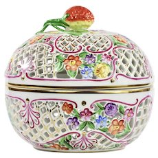 XL Hungarian Herend Reticulated Porcelain Potpourri Jar trinket box