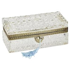 "8""L Antique French crystal glass Trinket Box Jewelry casket"