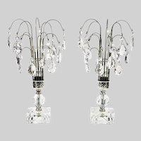 Art Deco pair crystal Waterfall Table Lamps