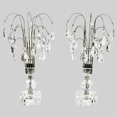 Art Deco pair crystal Waterfall Table Lamps
