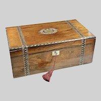 Antique fine walnut wood w/ bronze inlay writing lap travel Desk Box 1854 Diary