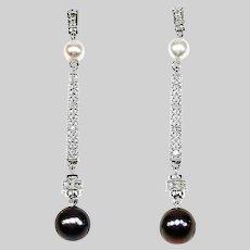 Fine Stud Drop Dangle Earrings 14K white gold .06 CT Diamonds 4 Pearls