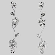 Vintage Fine Stud Drop Dangle Earrings 14K white gold and Diamonds