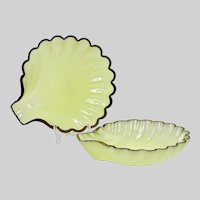 "Pair of 10""D French chartreuse opaline glass Shell Bowl Dish"