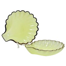 """Pair of 10""""D French chartreuse opaline glass Shell Bowl Dish"""