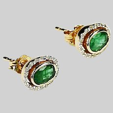 Emerald and Diamonds Earrings 14K yellow gold studs