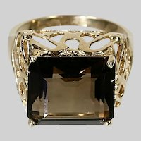 Smokey Quartz Cocktail Ring 10K solid yellow Gold size 6.5