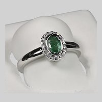 Ring size 6.5 14K solid white gold natural emerald and diamonds