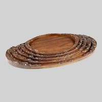 Set of 5 antique Gallery Trays tray Black Forest wood carving