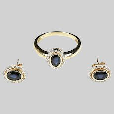 Set Ring and Earrings solid 14K yellow gold with sapphire and diamonds