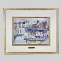American Charles Henry Fromuth 1861-1937 Sailboats pastel on paper signed