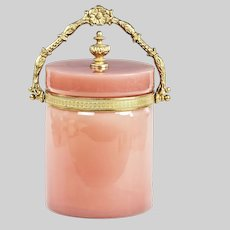 French Biscuit Bucket Box pink opaline glass w/ bronze mounts