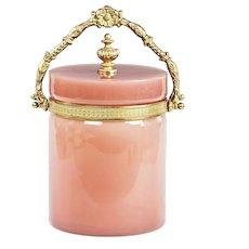 French Biscuit Bucket Box pink opaline glass w/ bronze mounts